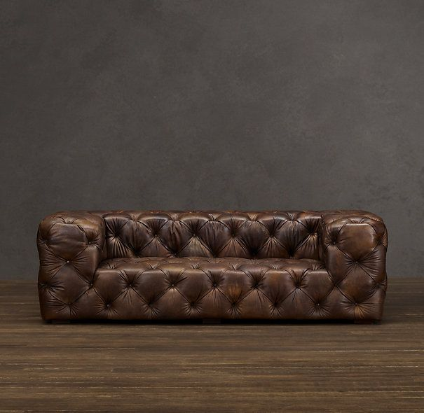 Soho Tufted Leather Sofa With Images