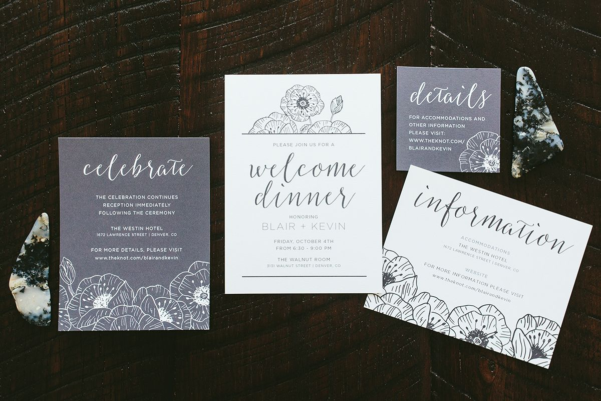 creative wording for rehearsal dinner invitations%0A Modern Black  u     White Poppy Wedding Invitations Details  u      Directions Information Inserts with Reception Card    Rehearsal Dinner