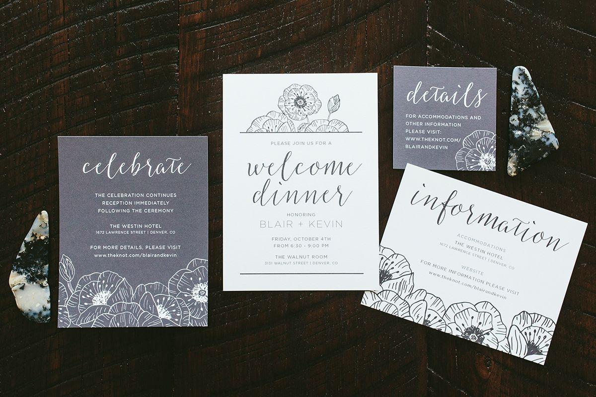 Modern Black & White Poppy Wedding Invitations Details ...