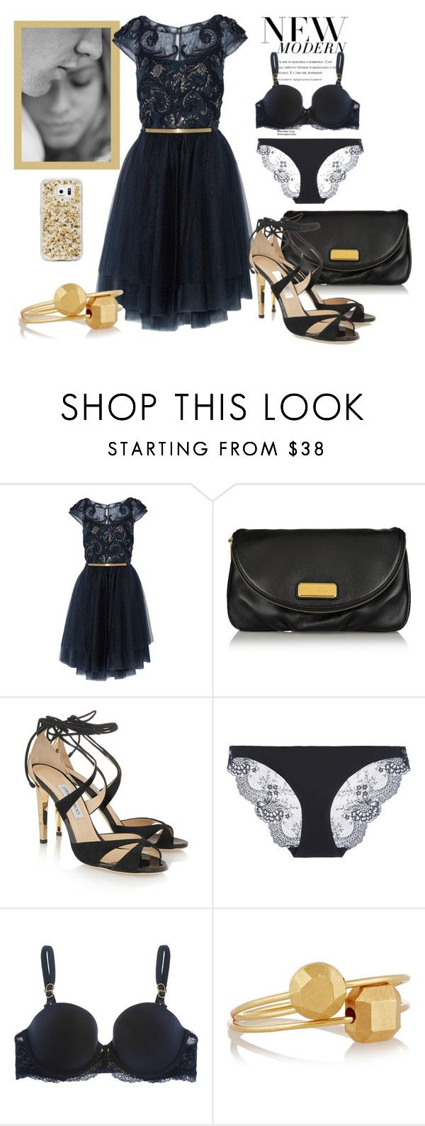 """""""Indigo party"""" by surfergirl3915-1 ❤ liked on Polyvore featuring Notte by Marchesa, Marc by Marc Jacobs, Jimmy Choo, STELLA McCARTNEY and IaM by Ileana Makri"""