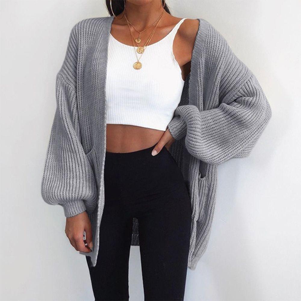Casual Sleeve Knitwear Cardigan Large Knitted Sweater - BeFashionova
