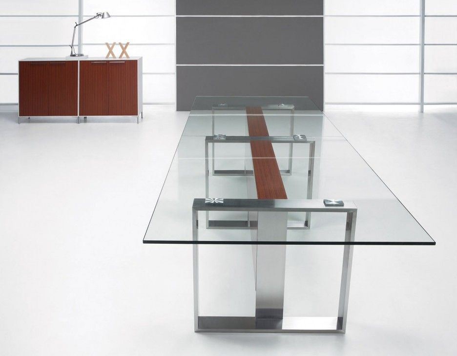 Exceptionnel Brilliant Idea For A Design Conference Table. Modern Simple Conference Table  Feature Rectangle Solid Glass Table Top Stainless Steel Legs Minimalist  Elegant ...