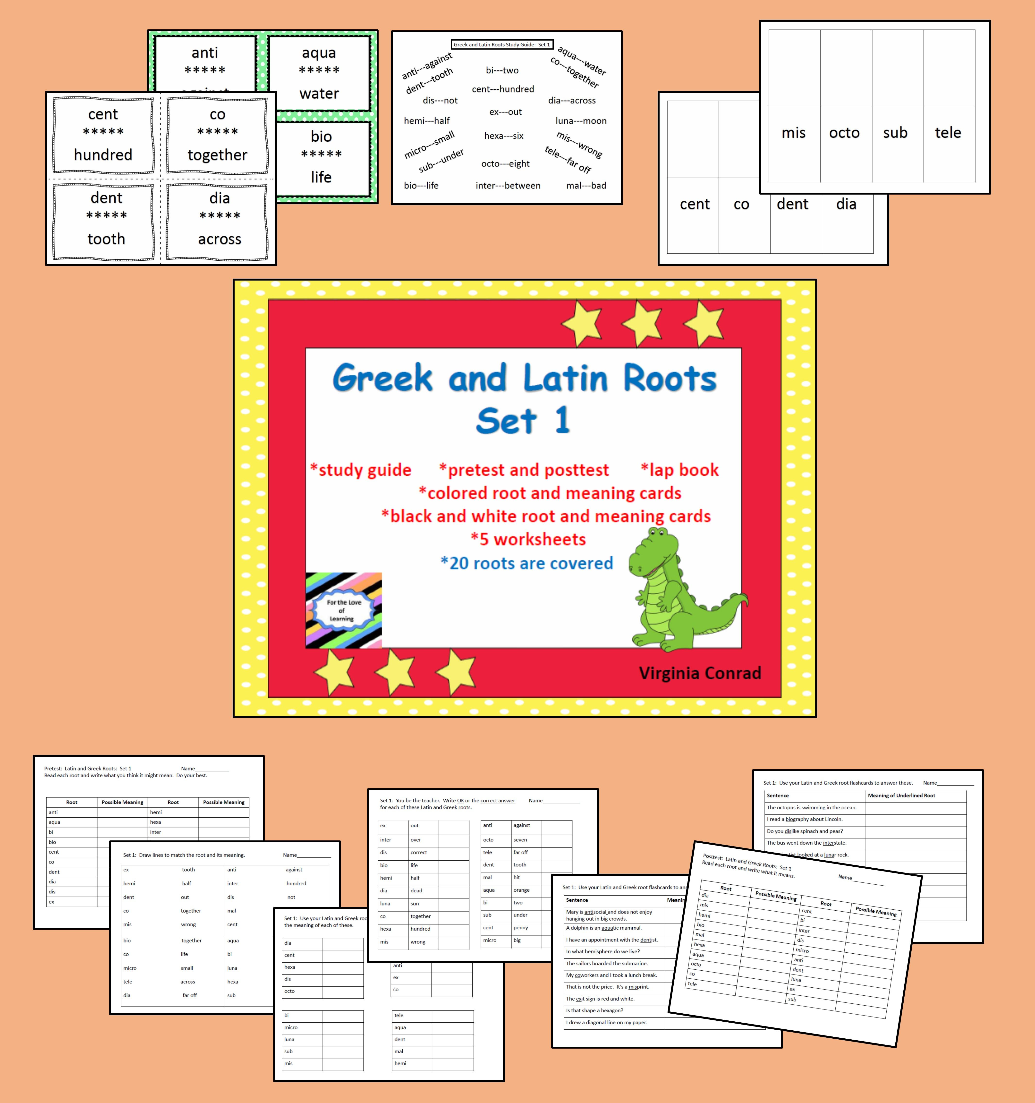 Need To Teach Or Review Latin And Greek Roots This Packet Can Help There Are 20 Roots Covered With Word Meaning Cards Latin Roots Phonics Words Word Study