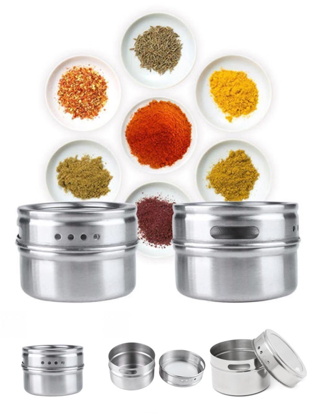 [Visit To Buy] Stainless Steel Magnetic Spice Storage Jar Tins Container  With Rack Holder