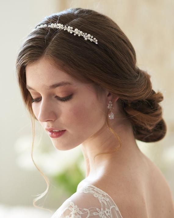 Silver Plated Jewelry Rhinestone Bride Headband Hair Band Comb T1