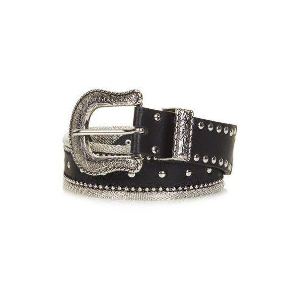 New Metal Mesh Western Belt ($50) via Polyvore featuring accessories, belts and metal belt
