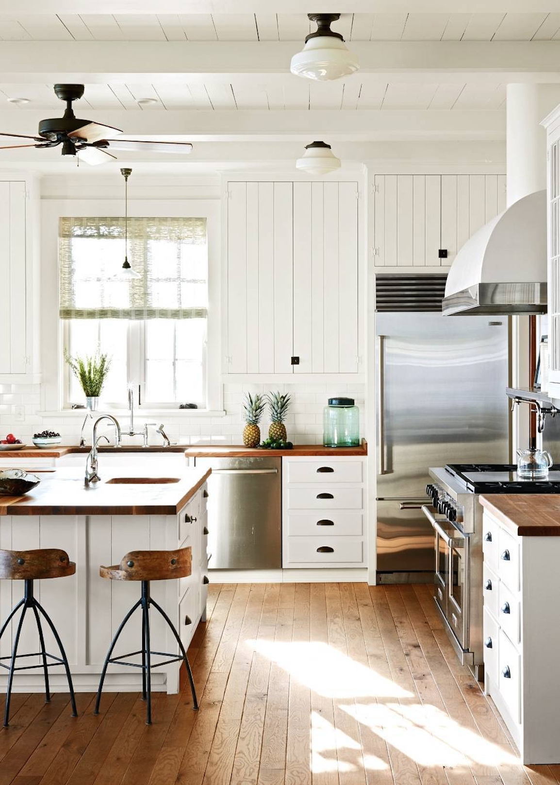 Classic Farmhouse Kitchen With Wood Countertops Via Coco Kelley Wood Countertops Kitchen Farmhouse Kitchen Design Kitchen Cabinet Design