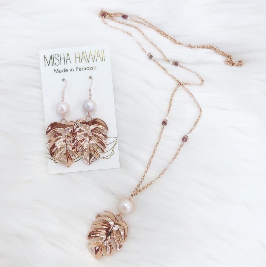 Pink Pearl Long Monstera Necklace – MishaHawaii
