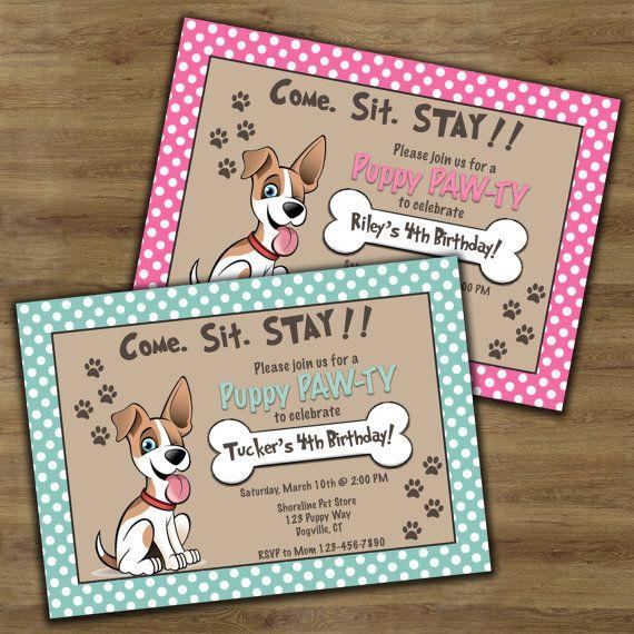 Puppy Birthday Invitation Party Themed Dog Birt