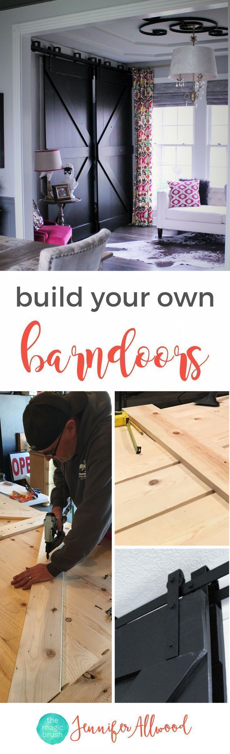 How to's : Free Tutorial: build your own black bypass barndoors using whitewood | DIY Farmhouse barndoors | Home Office Idea by themagicbrushinc.com | Black Barndoors and painted barndoors #barndoors #doors #diy #repurpose #homedecor #decor #diyhomedecor #farmhouse