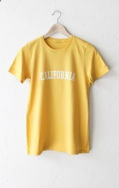 Description details super soft relaxed fit organic womens short sleeve  shirt in yellow with print featuring california measurements size guide  also just be nice tee tops pinterest clothes and clothing rh