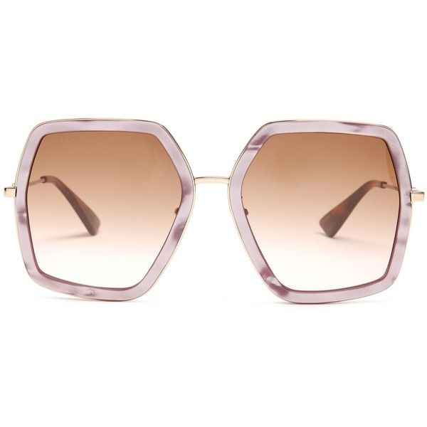 efd73a325b Gucci Oversized hexagon-frame sunglasses featuring polyvore women s fashion  accessories eyewear sunglasses light pink gucci bee glasses tortoise shell  ...