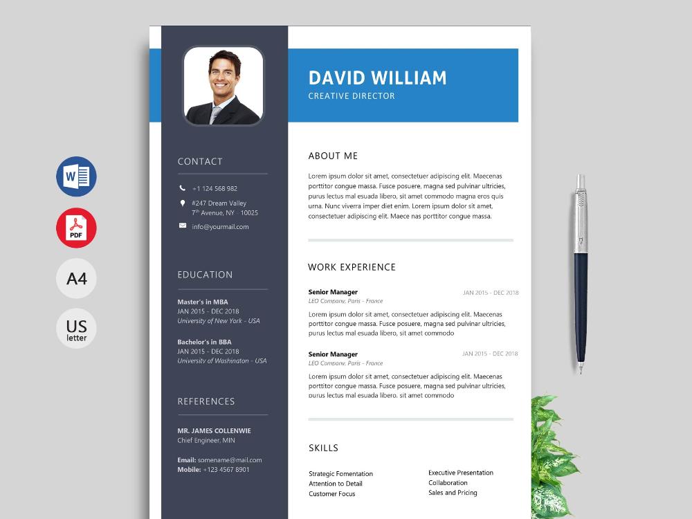 Modern Resume & CV Template Free Download [2020