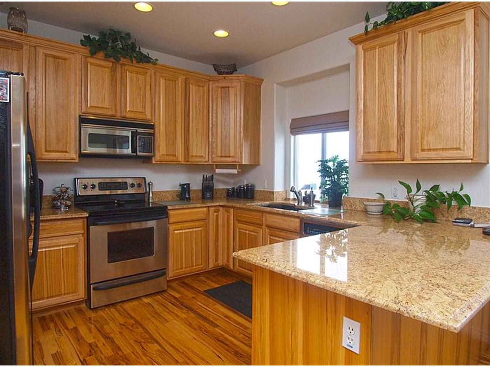 Kitchen Floors And Cabinets Open Kitchen Plan With Hickory Cabinets And Hardwood Floors