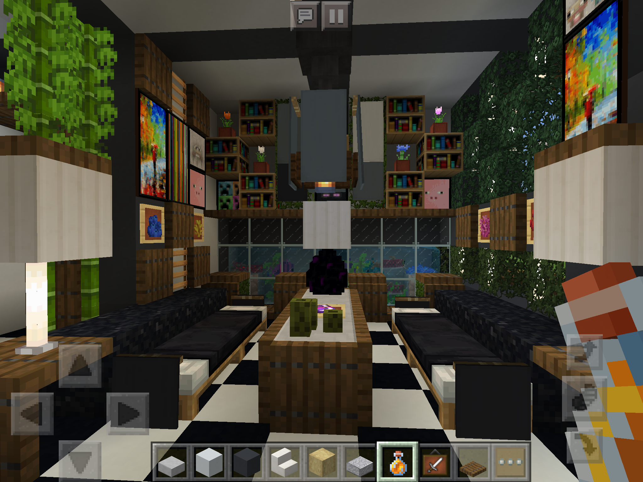 Interior Design For A Modern House In Minecraft Ideas For Minecraft Houses In 2020 Minecraft Interior Design Minecraft Modern Modern House