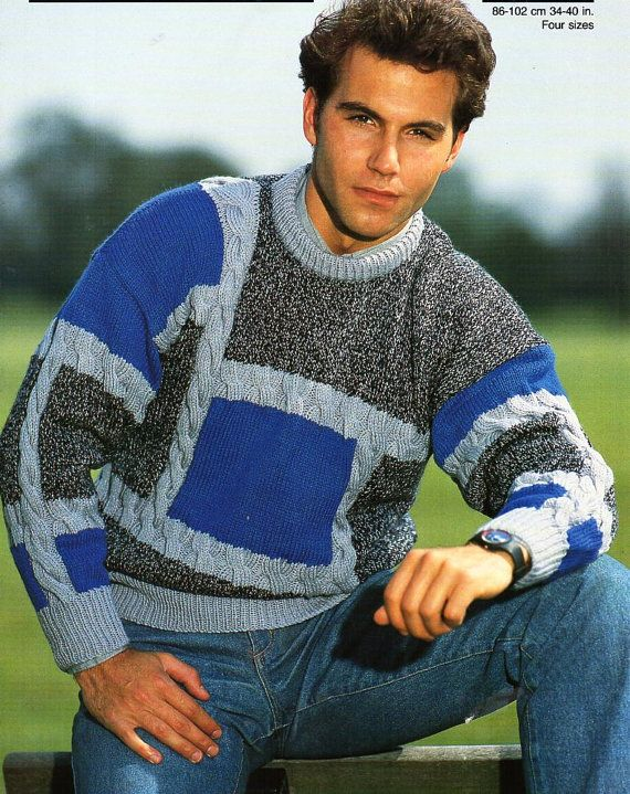 mens sweater knitting pattern pdf DK patchwork cable jumper ...