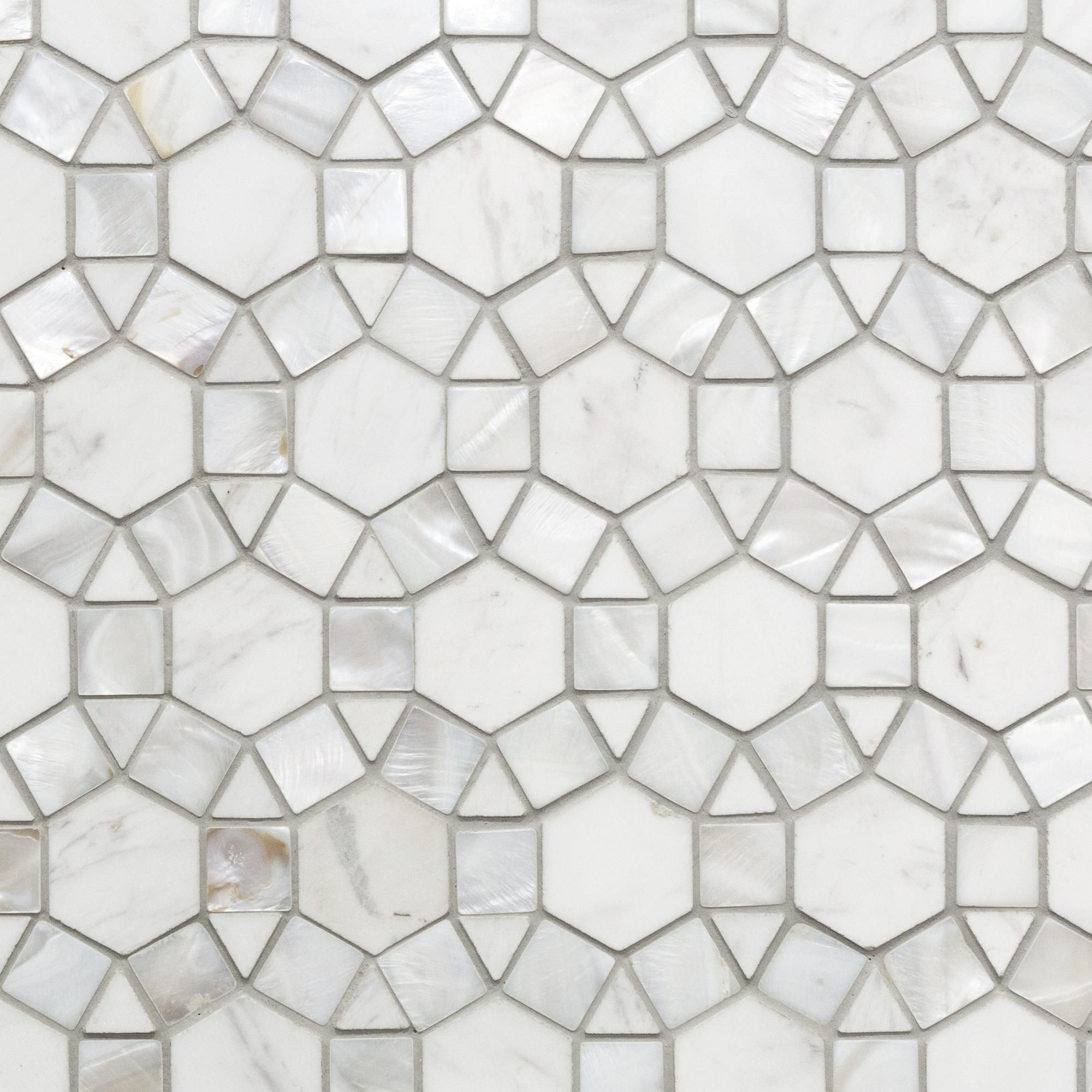 Carrara Circulos Water Jet Cut Mother Of Pearl Marble Mosaic