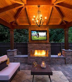 Fireplace Gazebo Tv Google Search Backyard Fireplace Rustic