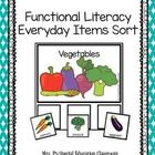Functional Literacy Everyday Items Sort Categories: Vegetables, Fruits, Clothes, Farm Animals, Pets, Zoo Animals, Wild Animals, Dairy, Grains, Meat...