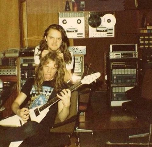 James Hetfield And Lars Ulrich In The Studio Back In The Day Metallica James Hetfield Young James Hetfield