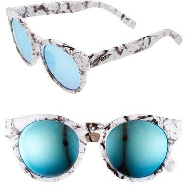 High Emotion Blue mirror Quay Australia sunglasses White//Black marble
