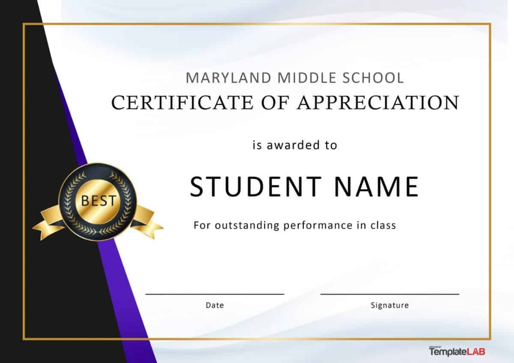 Free Certificate Of Appreciation Templates And Letters With Regard To Best Performance Cer Certificate Of Appreciation School Certificates Student Certificates