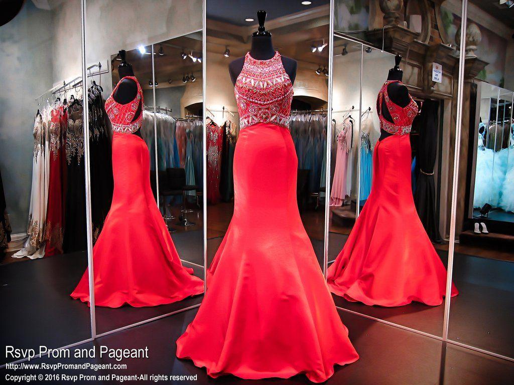 Red satin mermaid prom dressopen backhigh necklinesk