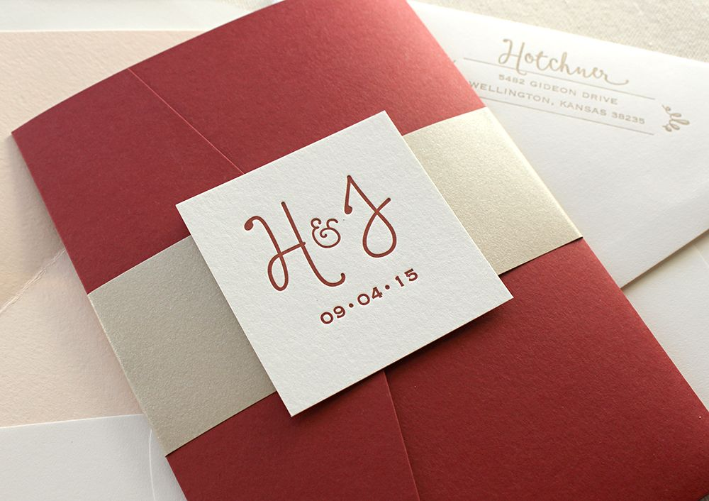 Romantic Red Letterpress Wedding Invitations with shimmery belly ...