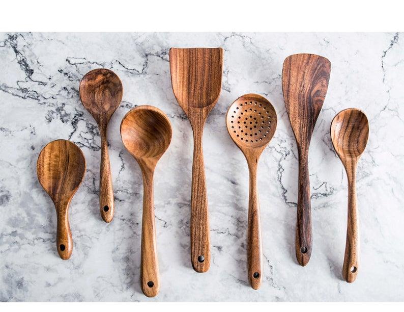 Thailand Teak 7 Piece Kitchen Utensil Set Cooking Utensils Wooden Utensils Sustainable Wood Wooden Kitchenware Home Gift In 2020 Cooking Tool Set Wooden Cooking Utensils Kitchen Tool Set