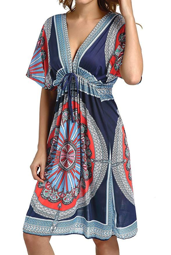 f8141c203572c CHERRY CAT Colorful Cut Loose Swimsuit Cover-ups Swim Cover Ups Plus Size  Clothing Beach Dress (Navy) at Amazon Women's Clothing store: