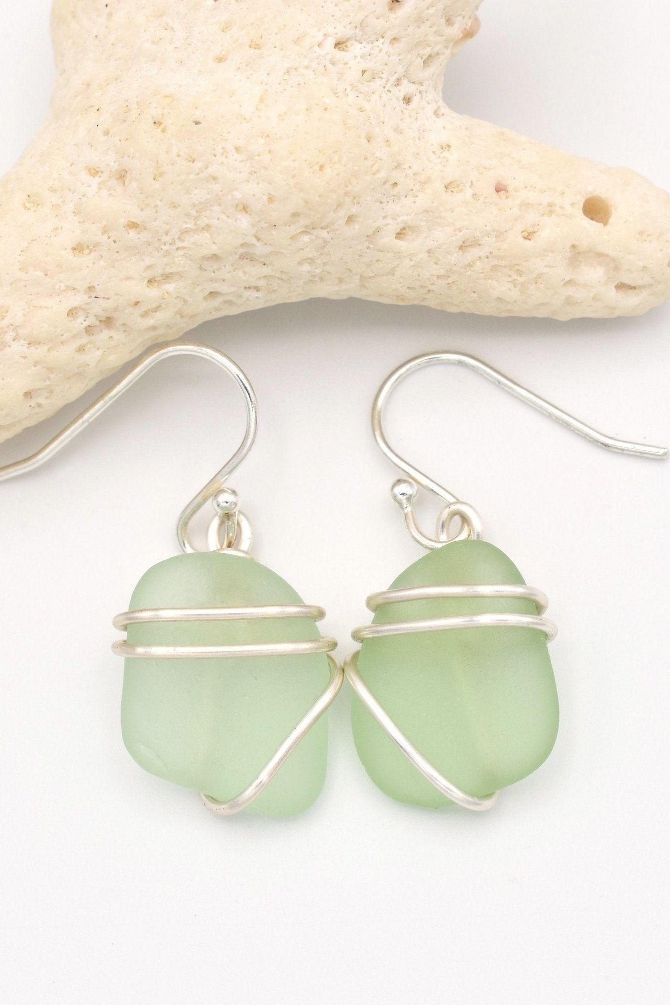Beach Glass Dangle Earrings Sea Foam Sea Glass Glass Earrings Genuine Sea Glass Valentine/'s Day Gift for Her Casual Drop Earrings