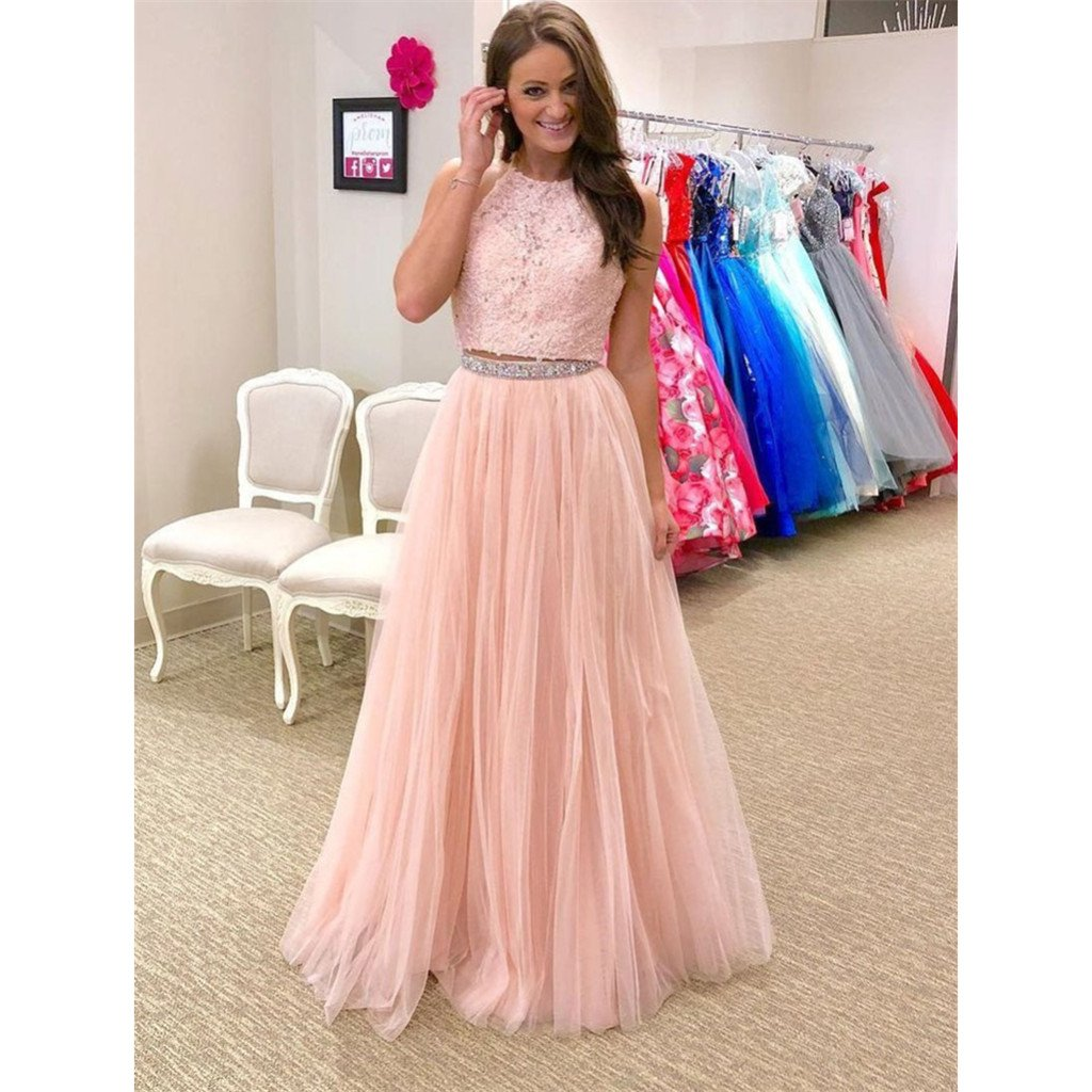 Sparkly aline floorlength two piece halter lace top beading prom