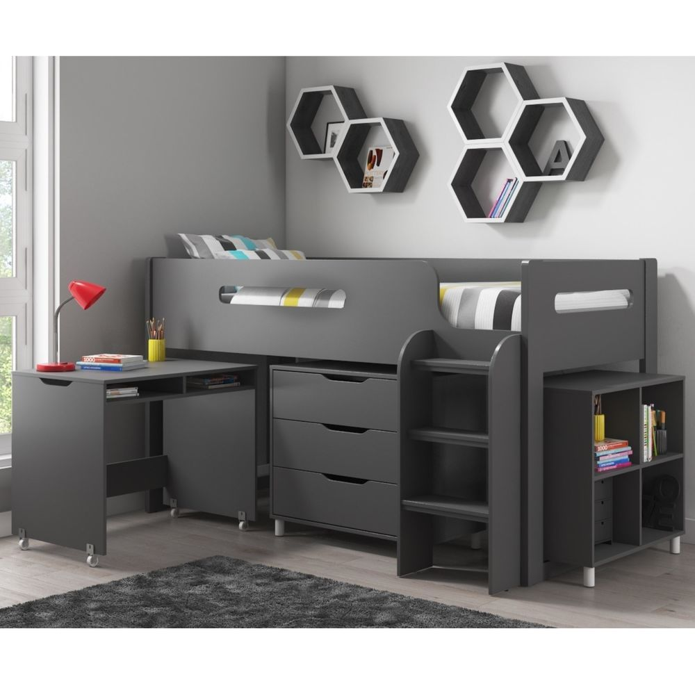 Best Mid Sleeper Cabin Bed Dark Grey Finish Wooden Frame Slats 400 x 300