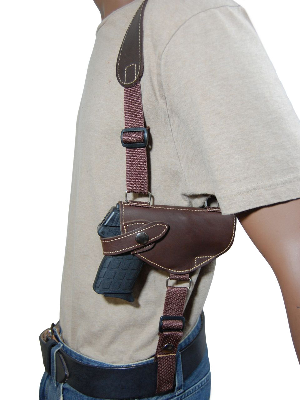 New Brown Leather Horizontal Cross Harness Shoulder Gun Holster for