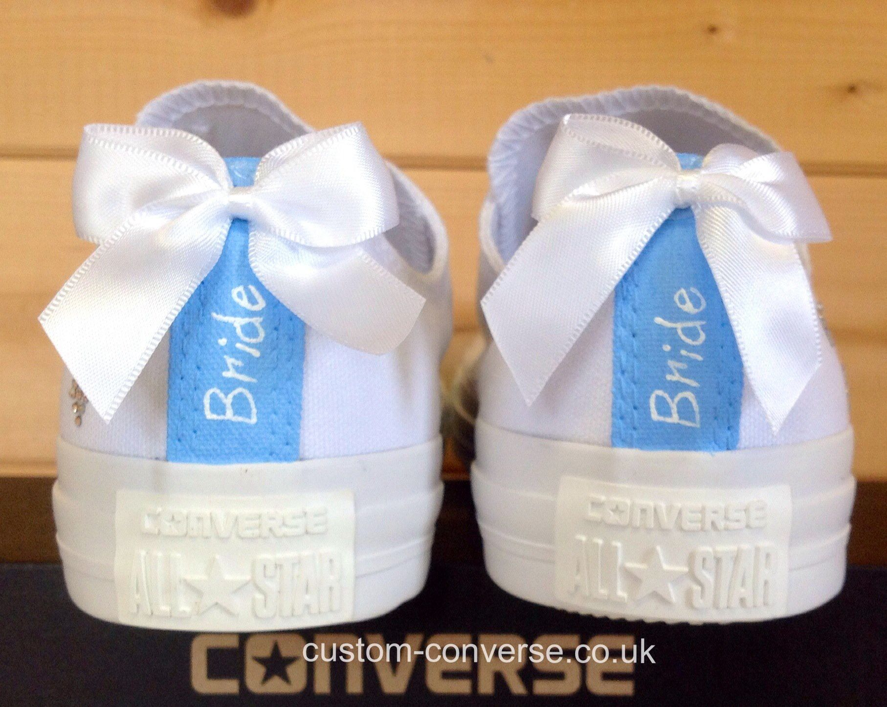 Something blue bride customised converse heel tags wedding