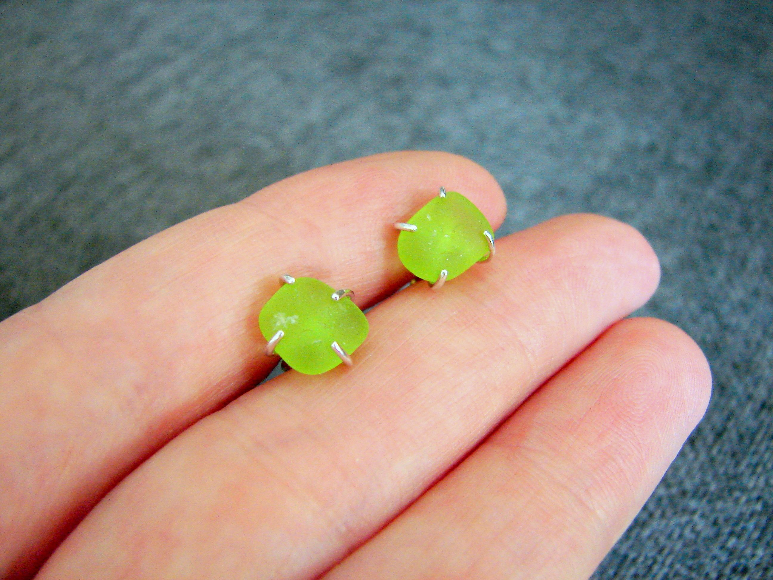 product stud green sea glass earrings jewellery image beachcomber