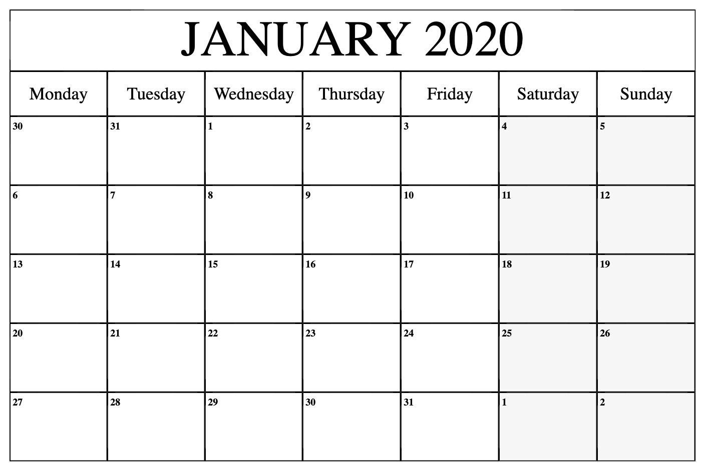 Free January Calendar 2020 Printable Template Blank In Pdf Word Excel 8 December Calendar Calendar Printables July Calendar
