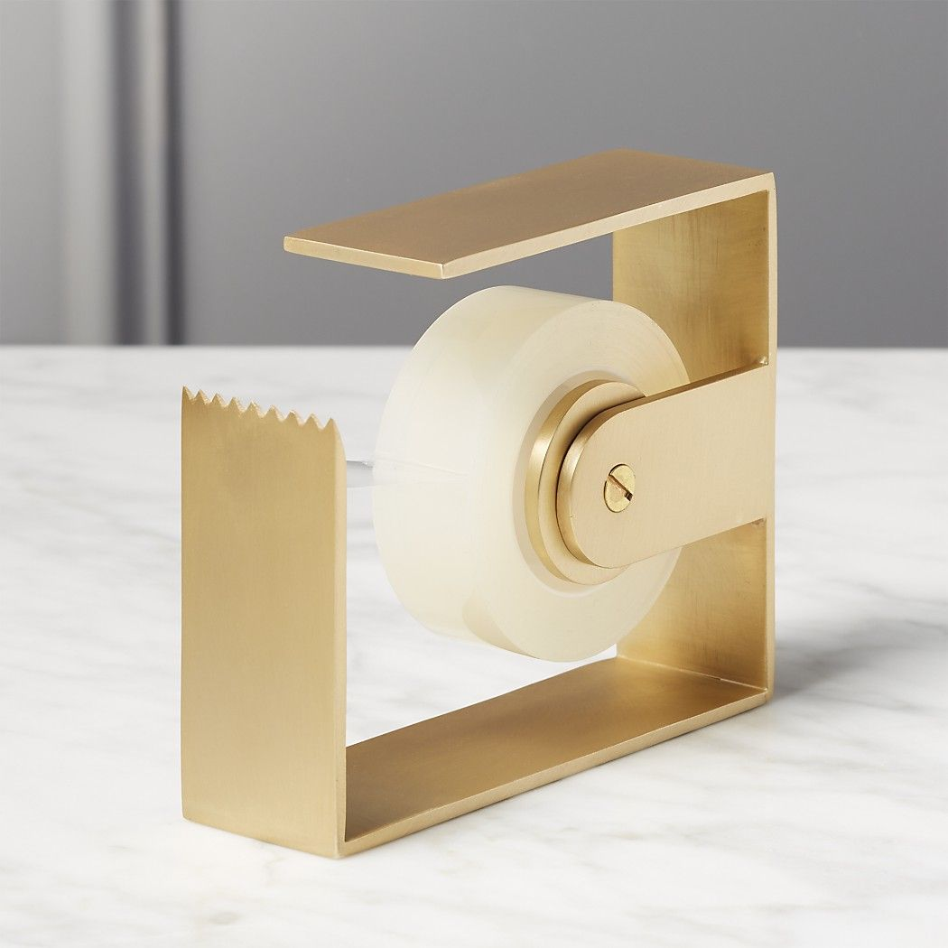 Solid Brass Studio Tape Dispensers is part of Brass Home Accessories Spaces - work, CB2 x Fred Segal brings you a luxe accessory collection that's both useful and beautiful   Crafted from solid brass, this minimal tape dispenser is like a sculpture for your desk
