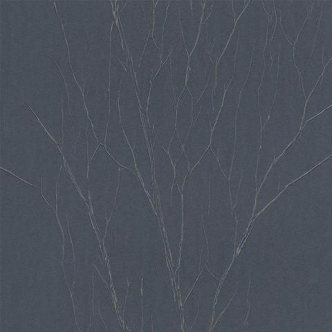 Estuary Wallpaper in Metallic Blue Charcoal and Beige by Antonina Vella for York Wallcoverings