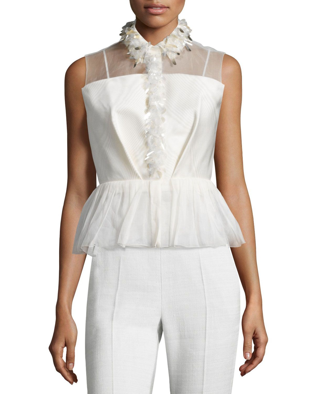 Delpozo Sleeveless Embroidered Peplum Top, Jasmine