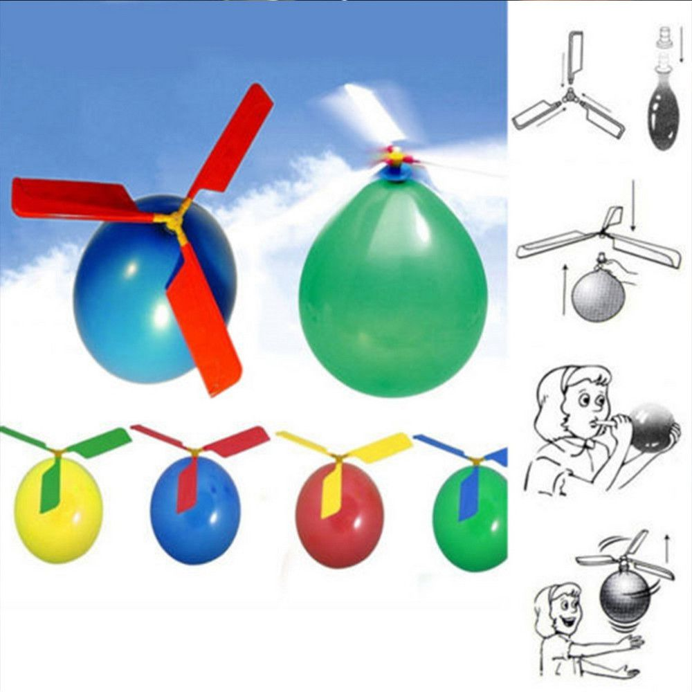 Cool Traditional Balloon Helicopter Kids Children Party Bag Filler Flying Toy CH