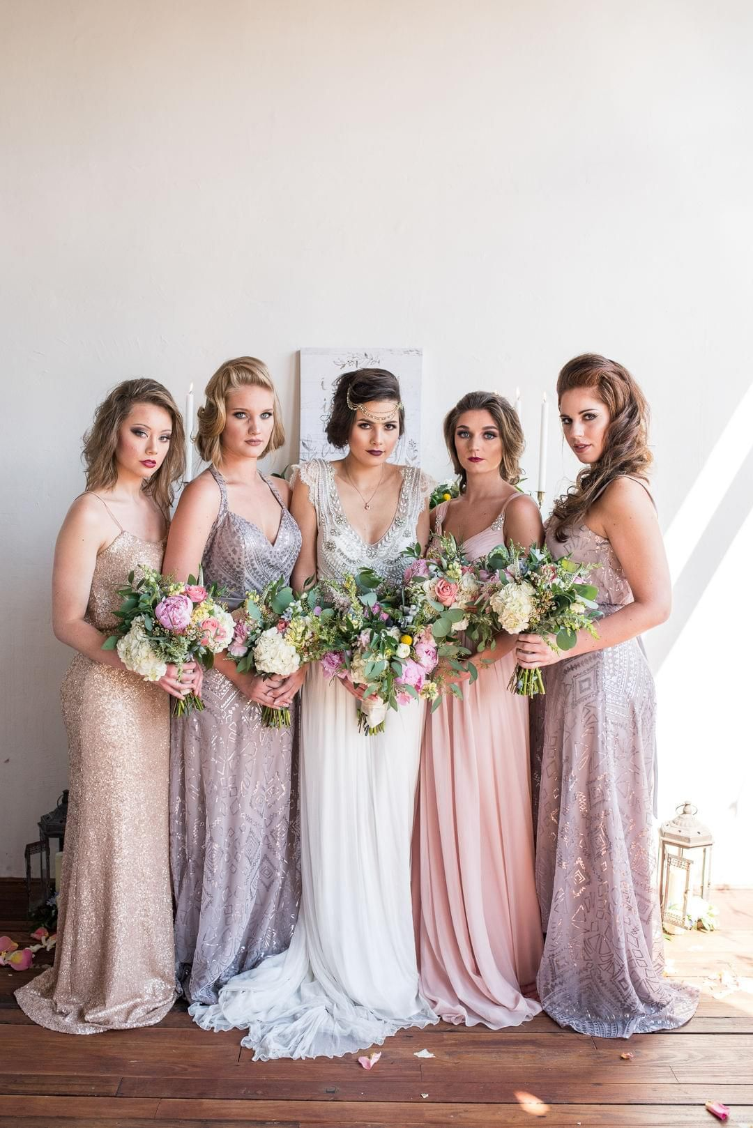 Vintage inspired gatsby glam styled shoot sparkly bridesmaids sparkly bridesmaids dresses lilac gold 1920s bridal party tiffany loera photography ombrellifo Choice Image