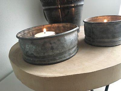 zink teelichthalter 2er set industrial windlicht shabby vintage landhaus ebay teelichthalter on zink outdoor kitchen id=35249