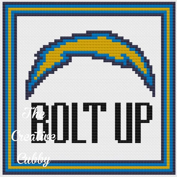 San Diego Chargers Bolt Up: San Diego Chargers Bolt Up Cross Stitch By
