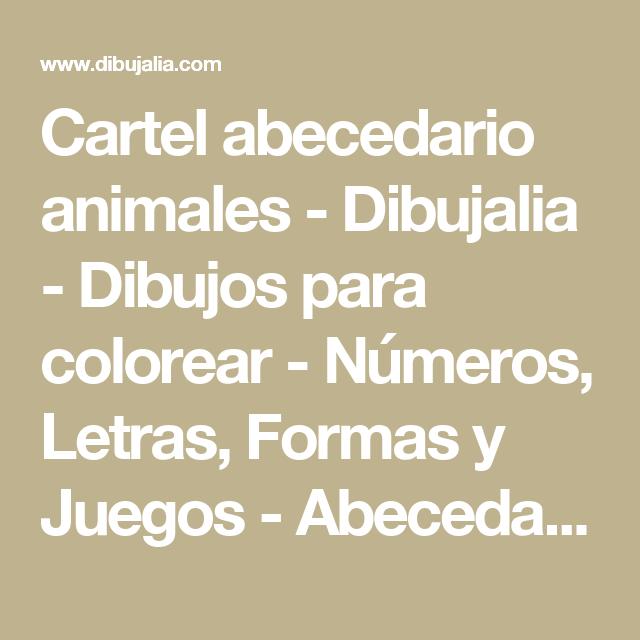 Cartel abecedario animales - Dibujalia - Dibujos para colorear-Números, Letras, Formas y Juegos-Abecedarios-Abecedario Animales-Cartel abecedario animales