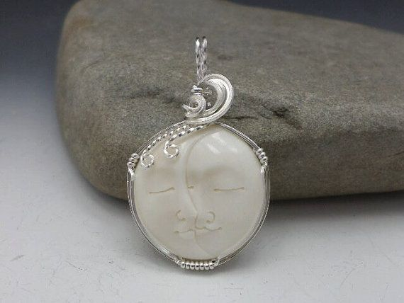 Carved Bone Face Celestial Lovers Sun And Moon By Deliasstones Carved Bone Face Handmade Silver Moon Pendant