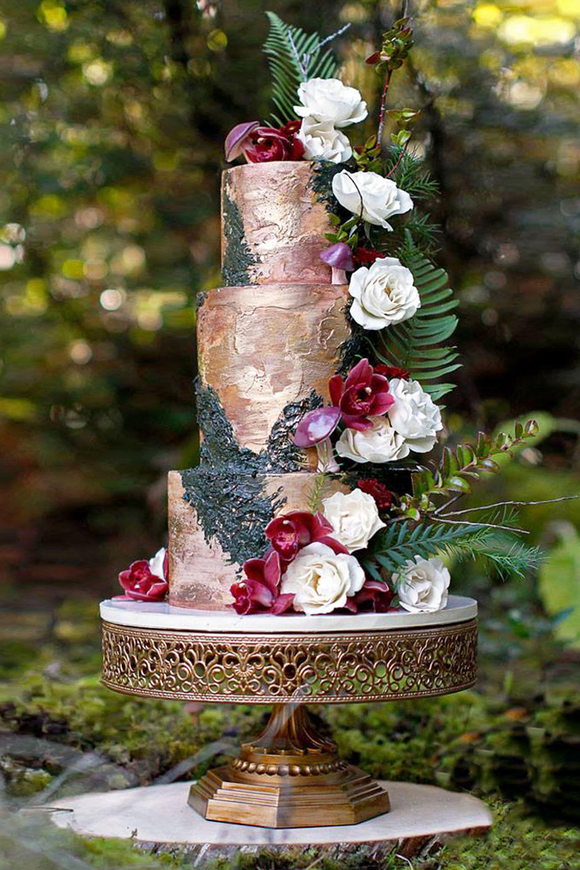 Rustic Rose Gold Wedding Cake Rose Gold Wedding Cakes Rustic Rose Gold Wedding Gold Wedding Cake