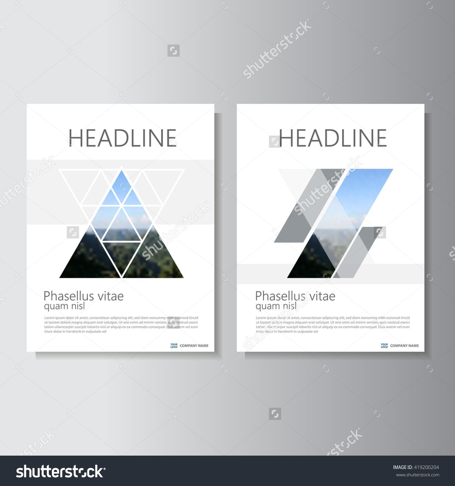 blue black vector annual report leaflet brochure flyer template clean and minimal style triangle annual report leaflet brochure flyer template design book cover layout