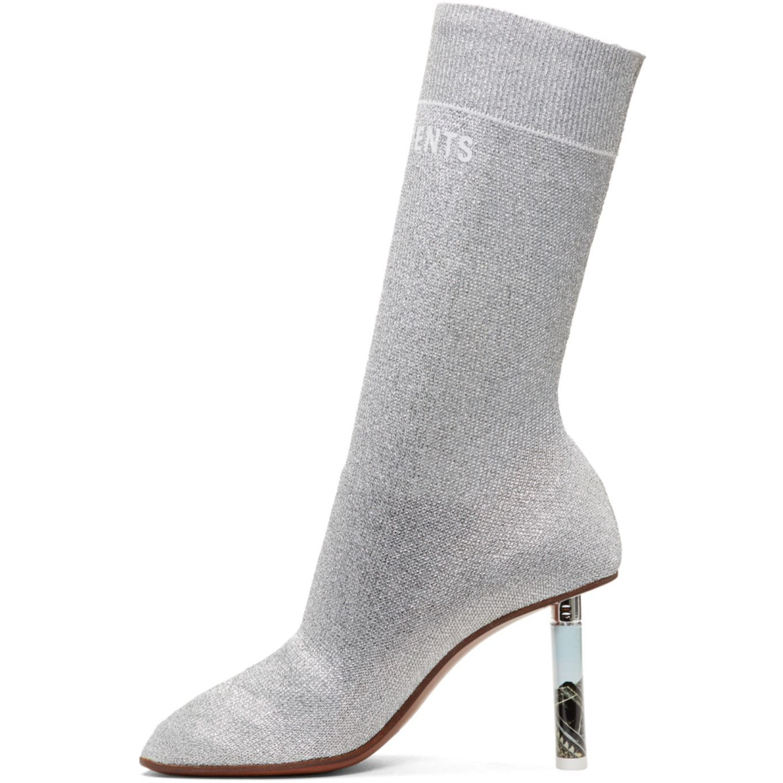 Vetements SSENSE Exclusive Silver Lurex Lighter Sock Boots dn3YR6wYG