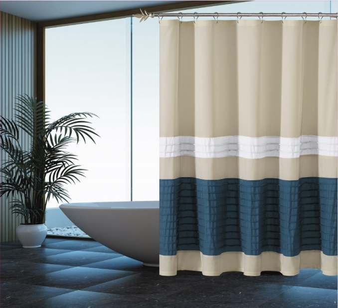 Pleated Waterproof Fabric Shower Curtain - Beige White Blue ...